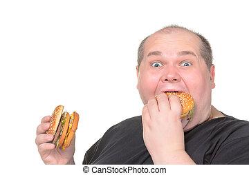 comer, hamburger, greedily, homem gordo