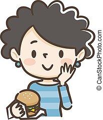 comer, hamburger, ilustração, mulher
