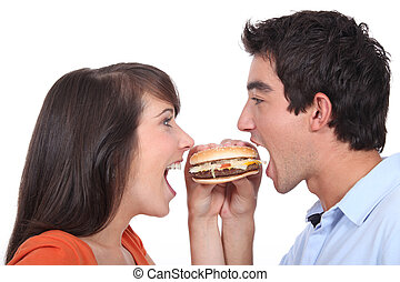 comer, hamburger, jovens