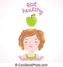 comer, healthy/, dieta, vector, ilustración