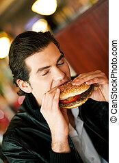 comer, homem, hamburger, restaurante