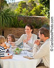 comer, jardim, família