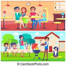 comer, jardim, grelhando, café, amigos, bbq, pizza