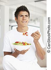 comer, jovem, salada, homem