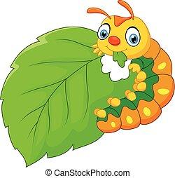 comer, lagarta, folha, caricatura