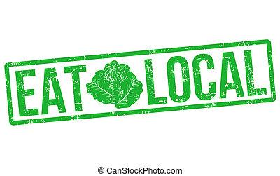 comer, local, estampilla