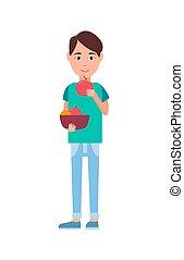 comer, maduro, cartaz, ilustração, vetorial, maçãs, homem