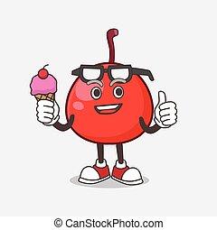 comer, mascote, vermelho, personagem, creme, gelo, baga, caricatura
