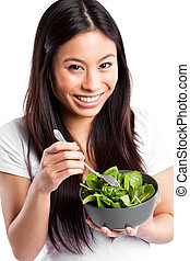 comer mulher, asiático, salada