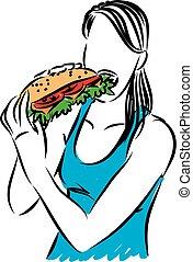 comer mulher, grande, ilustração, vetorial, sanduíche