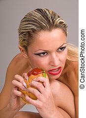 comer, mulher, hamburger