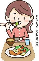 comer mulher, mosca, camarão, ilustração