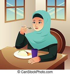 comer mulher, muçulmano, ilustração, lar, pequeno almoço