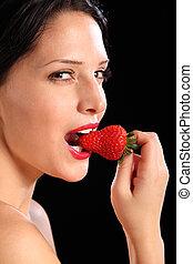 comer mulher, olhar, moranguinho, fruta, excitado, fresco