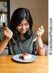 comer mulher, preparar, jovem, asiático, bolo