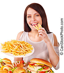 comer mulher, rapidamente, alimento.