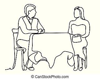 comer mulher, restaurante, drawing., contínuo, linhas, isolado, sentada, desenho, experiência., vetorial, data, tabela, linha branca, monocromático, homem