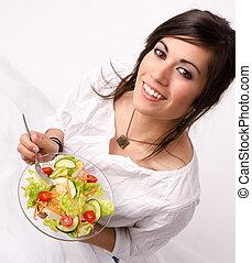 comer mulher, salada, saudável, cru, verde, alimento, fresco, desfruta