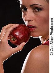 comer mulher, um, maçã