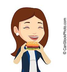 comer, mulher, vetorial, hamburger, illustration.