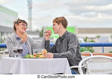 comer, par, restaurante, alimento