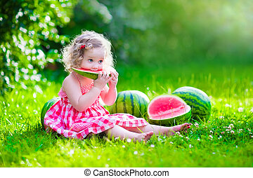 comer, pequeno, melancia, menina