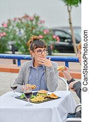 comer, restaurante, alimento, mulher