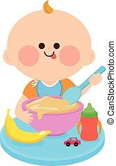 comer, sólido, ilustração, alimento., vetorial, bebê