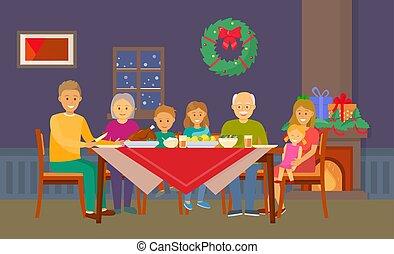 comer, sala, família, pessoas, alimento, jantar, natal