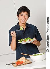 comer, salada, homem