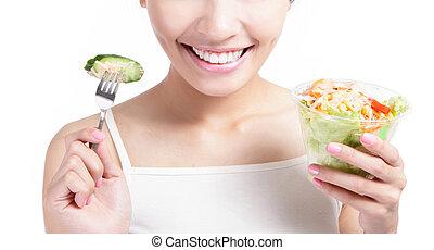comer, salada, jovem, cima, sorrizo, fim, menina