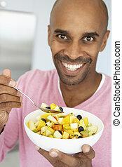 comer, salada, meio, fruta, fresco, envelhecido, homem