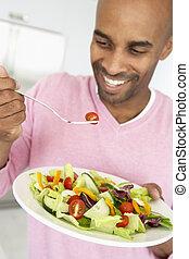 comer, salada, saudável, meio envelheceu, homem
