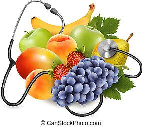 comer, saudável, concept., fruta, vector., stethoscope.
