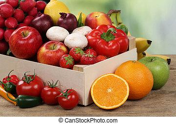 comer saudável, frutas legumes, caixa