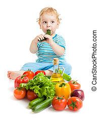 comer, saudável, legumes, experiência alimento, bebê, branca