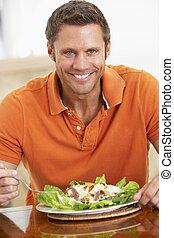 comer, saudável, meio envelheceu, refeição, homem