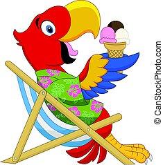 comer, sentando, gelo, macaw, cadeira, praia, caricatura, creme