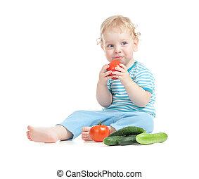 comer, tomatoes., saudável, concept., alimento, criança, feliz