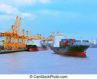 comercial, bateau, à, récipient, sur, expédition, port, pour, importation, exportation