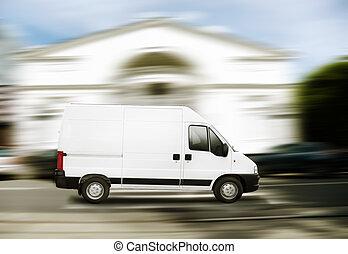 comercial, blanco, furgoneta