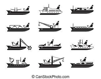 comercial, diverso, barcos