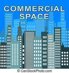 comercial, espacio, describes, bienes raíces, oficinas, 3d, ilustración