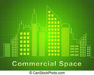 comercial, espacio, representa, bienes raíces, oficinas, 3d, ilustración