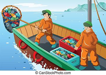 comercial, pescador, pesca