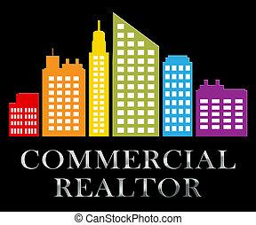 comercial, realtor, describes, bens imóveis, venda, 3d, ilustração