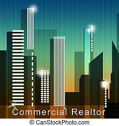comercial, realtor, meios, bens imóveis, venda, 3d, ilustração