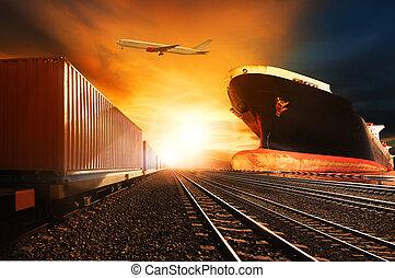 comercial, uso, recipiente, acima, carga, indústria, voando, fundo, porto, avião, logistic, trens, transporte, navio frete