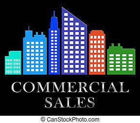 comercial, vendas, describes, bens imóveis, venda, 3d, ilustração