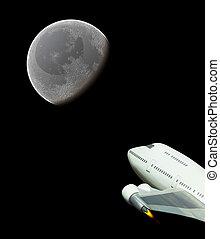 comercial, vuelo espacial, a, la luna